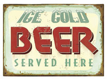 Vintage Beer Tin Sign Poster Stock Photography