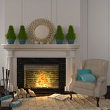Vintage beige armchair near the fireplace with Christmas decor. The interior of the living room which is decorated for Christmas with a beige armchair near the Stock Photos