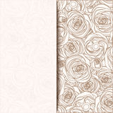 Vintage beige invitation card with roses. Vector illustration. Royalty Free Stock Photos