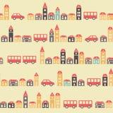 Vintage beige pretty town pattern Stock Image