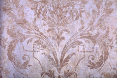 Vintage beige rundown victorian wallpaper Stock Photos