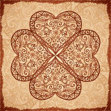 Vintage beige vector ornate clover background Royalty Free Stock Photography
