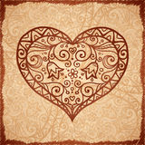 Vintage beige vector ornate heart background Stock Images