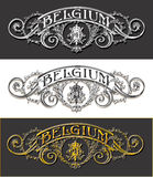Vintage Belgium Label Banner, Withe, Black and Gold Stock Photography