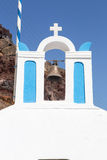 Vintage bellfry in OIa, Santorini, Greece Stock Photography