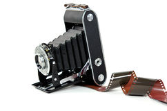 Vintage bellows camera with film Stock Images