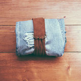 Vintage belt and jeans Royalty Free Stock Images