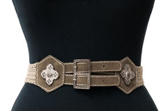 Vintage belt. On the waist of a woman mannequin Stock Images