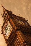 Vintage Ben. Famed Big Ben. This is a vintage view of the famous landmark clock located on the corner of Bridge Street and Victoria Embankment Royalty Free Stock Photo