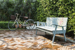 Vintage bench and bicycle Stock Photography