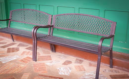 Vintage bench. And wall green color Stock Image