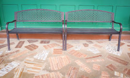 Vintage bench. And wall green color Stock Photography