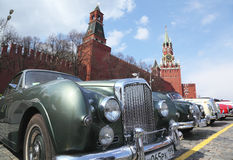 Vintage Bentley car on Kremlin background stock photography