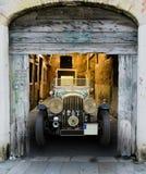 Vintage Bentley in wooden barn Stock Photo