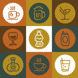 Vintage Beverages icons set stock illustration