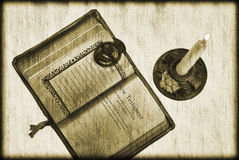 Vintage Bible and Candle Royalty Free Stock Images