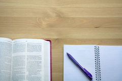 Vintage Bible study with pen view from the top with coffee Stock Images