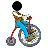 Vintage bicycle. Silhouette-man on transportation icon - vintage bicycle Royalty Free Stock Photo