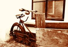 Vintage bicycle. Sepia coloured work bicycle Stock Photo