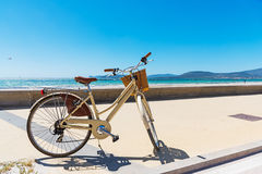 Vintage bicycle by Alghero shore Royalty Free Stock Photo