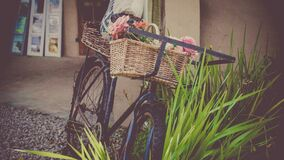 Vintage bicycle with basket Stock Photography