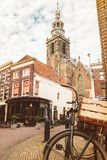 Vintage bicycle with basket in the city center of Gouda Royalty Free Stock Photos