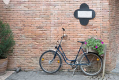 Vintage bicycle with basket of flowers. Leaning against brick wall Royalty Free Stock Images
