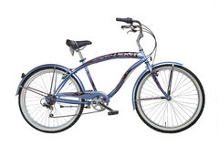 Vintage bicycle. Vintage blue bicycle on white background Stock Image
