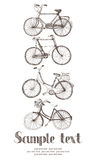 Vintage bicycle card. Hand drawing sketch stock illustration