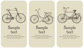 Vintage bicycle card set. Vintage bicycle design card set. Hand drawing sketch stock illustration