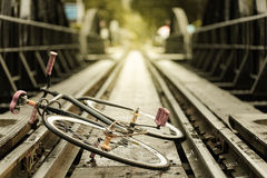 Vintage Bicycle colored on rail,retro Royalty Free Stock Photos