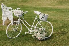 Vintage bicycle decorated at a wedding