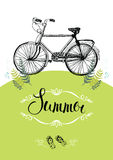 Vintage bicycle. Design card with vignette and calligraphy Royalty Free Stock Images