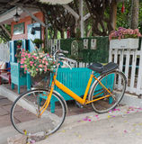 Vintage bicycle display in front of the resort in Koh Lan Island. Stock Photo