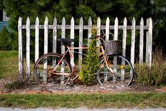 Vintage Bicycle by Fence Stock Images