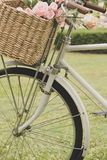 Vintage bicycle on the field stock photos