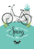 Vintage bicycle and fox. Vignette and calligraphy Stock Photography