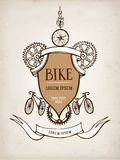 Vintage bicycle frame. Vector hand drawn stylish vintage bicycle frame on paper background. Editable objects Royalty Free Stock Photography