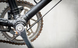 Vintage Bicycle gear and chain driving mechanics. Vintage Bicycle gear and chain driving mechanics with copy space Royalty Free Stock Photos