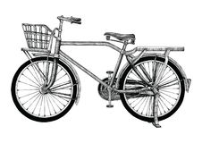 Vintage bicycle hand drawing clip art isolated on white bakground royalty free illustration