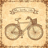 Vintage bicycle hand drawn vector card Royalty Free Stock Image