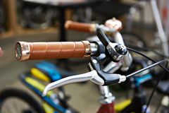 Vintage bicycle handlebars and brake lever. Vintage bicycle handlebars with brake lever Royalty Free Stock Photo