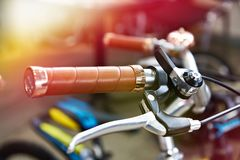 Vintage bicycle handlebars and brake lever Stock Photos