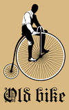 Vintage Bicycle illustration with man Stock Photo