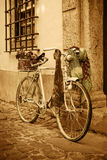 Vintage bicycle leaning against an old door Stock Photos