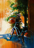 Vintage bicycle and old hat on summer day. Digital painting Stock Images