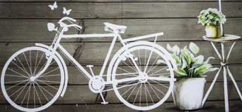 Vintage bicycle. Painting of  bicycle on the vintage wall Royalty Free Stock Photo