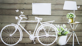 Vintage bicycle. Painting of  bicycle on the vintage wall Royalty Free Stock Photos