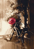 Vintage bicycle with red hat. Vintage bicycle and red hat on summer day.digital painting Royalty Free Stock Photo