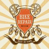 Vintage bicycle  repair logo Royalty Free Stock Photography